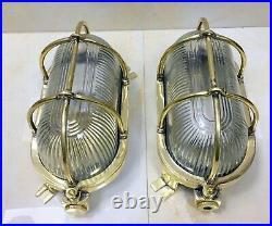 Nautical Vintage Marine Oval Ships Bulkhead Light Set Of 2