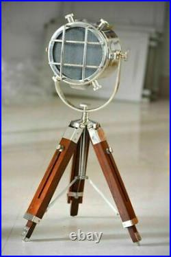 Nautical Vintage Search Light Table Spot Light With Wood Tripod Stand Home Decor