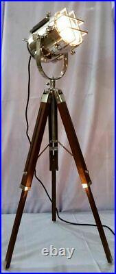 Nautical Vintage Studio Searchlight Table Lamp Spot Light Brown Tripod Stand
