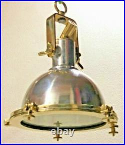 Nautical Vintage Style Cargo Pendant Spot Aluminium & Brass Hanging New Light
