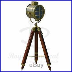 Nautical Wooden Tripod LED Lighting Floor Lamp Vintage Antique Style Home Decor