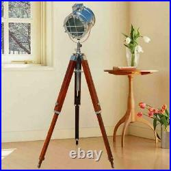 Nautical floor lamp lighting spot/search light LED home decor with wooden tripod