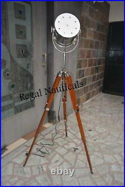 Nickel Spot Light Tripod Floor Light Vintage Designer Home Decor Search Light