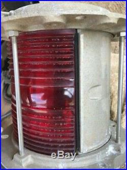 One Vintage Marine Navigation Light 180 Degree Red Or Blue/Green Fresnel Lens