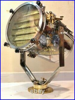 Original Vintage Antique Aluminum & Brass Nautical Marine Ship Signal Spot Light