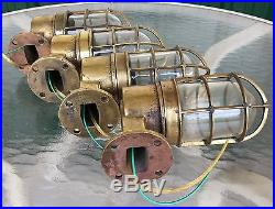 Original Vintage Marine Brass Ship's Passageway Lights Lot Of 4 Rewired #A
