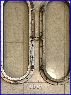 Pair 27 Oval Antique Brass Bronze Porthole Port Light Vintage