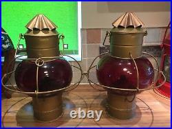 Pair Huge Vintage Ships Hanging Onion Oil Lamps Light Maritime Marine Nautical