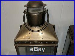 Pair Large Antique Vintage Brass Ship Mast Lantern Light Oil Lamp Excellent