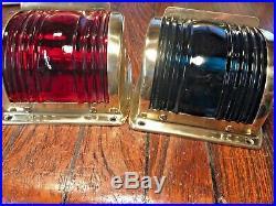 Pair Large Vintage Polished Brass Side Mount Running Lights Glass Led Rewired