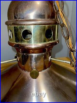 Pair Of Large Vintage Copper & Brass Pendant Light
