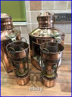 Pair Vintage Original SL Ships Copper Oil Navigation Lights Maritime Nautical