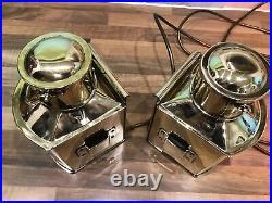 Pair Vintage Original Ships Brass Navigation Port Starboard Lights Maritime