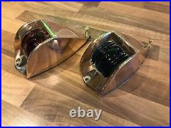 Pair Vintage Original Ships Bronze Brass Teardrop Nav. Lights Maritime Marine
