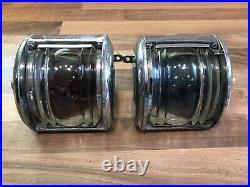 Pair Vintage Original Ships Chrome Brass S. L. Navigation Lights Maritime Marine