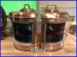 Pair Vintage Original Ships Copper Brass Lovell Arlington Nav. Lights Maritime