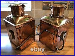 Pair Vintage Original Ships Copper Brass Navigation Lights Maritime Nautical