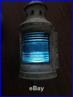 Pair of Vintage Perko Perkins Ships Lanterns Port And Starboard Marine Lights10