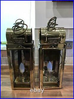 Pr. Vintage Brass Ships Bosun Cabin Lamps Lights Maritime Marine Nautical