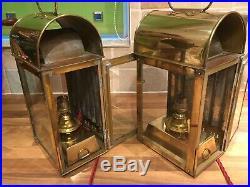 Pr. Vintage Brass Ships Bulkhead Cabin Lamps Lights Maritime Marine Nautical