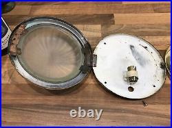 Pr Vintage Original Ships Brass Bulkhead Flush Lights Maritime Nautical