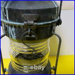 RARE Antique Vintage Ship Bow Light Lantern marine candle steampunk large heavy