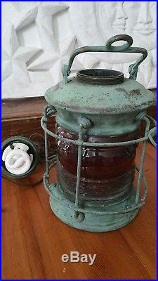 RARE RED Glass Brass Train Lantern Light Vintage Marine Beautiful Petina