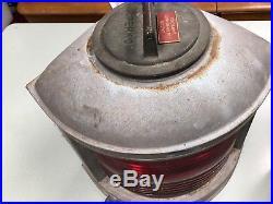 REDUCED! Vintage PERKO Galvanized / Brass RED Port Marine Boat Ship Lamp Light