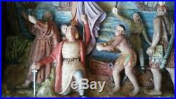 Rare Antique Vintage Lighted Diorama Columbus Landing German Bisque Porcelain