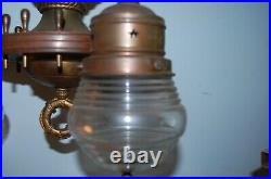 Rare Matched Pair Vintage Brass + Wood Nautical 3 Light Ceiling Fixtures