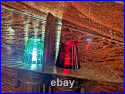 Rare Vintage Brass Bow Battery Operated Light Red/green Glass Lens Led Bulbs