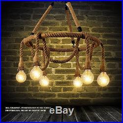 Retro Industrial Pendant Lamp Vintage Edison Nautical Manila Rope Ceiling 6Light