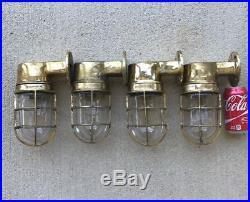 Set Of 4 Vintage Brass Nautical Wall Lights