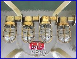 Set Of 4 Vintage Marine Brass Wall Mounted Ship's Bulkhead Lights