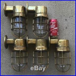 Set Of 5 Vintage Brass Nautical Wall Mounted Ship Lights