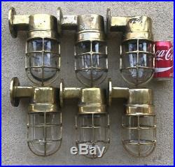 Set Of 6 Vintage Cast Brass Ship's Wall Mounted Lights