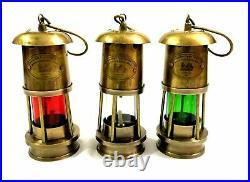 Set of 3 Antique Brass Minor Lamp Vintage Nautical Ship Boat Light Lantern Decor