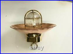 Ship Salvaged Old Brass Vintage Hanging Cargo Light with Copper Shade