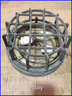 Simes CO NY Brass Industrial Light Cage Fixture Vintage Antique Sims Ship Prison