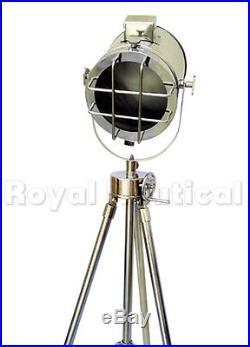 Steel Vintage Theater Spot light Nautical Wooden Tripod Floor Lamp Stand Decor