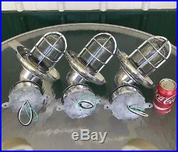 Three Vintage Nautical Aluminum Wall Lights With Cover