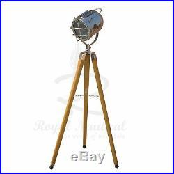 Tripod Floor Lamp Spotlight Wooden Designer LED Light Nautical Vintage Style