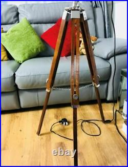 Tripod Floor Lamp Vintage LED Wooden Spotlight Nautical Antique Style Light