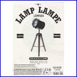 Tripod Industrial Design Lamp Table Desk Light Chrome Wood Retro Classic Elegant