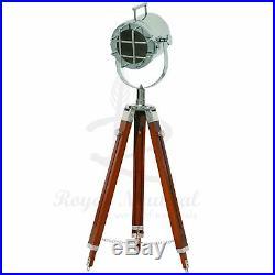 Tripod Vintage LED Floor Lamp Spotlight Stage Theater Nautical Theme Light