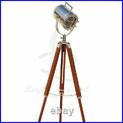 USED Tripod Vintage LED Floor Lamp Spotlight Stage Theater Nautical Light UK
