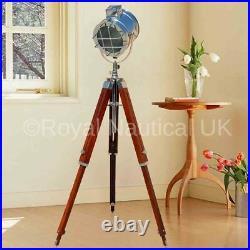 USEDTripod Floor Lamp Nautical Spotlight Vintage Wooden Light Home Office UK