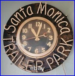 Unique Santa Monica Trailer Park Light Up Neon Clock Sign VTG Man Cave Decor