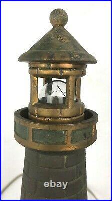 Unique Vintage Cast Bronze Brass Lighthouse Table Lamp / Night Light 16 1/2