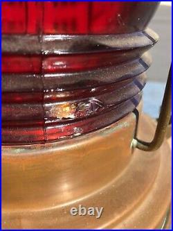 VINTAGE 16 Perkins PERKO Marine Lamp Copper & Brass BOW LIGHT RED GLASS LENS